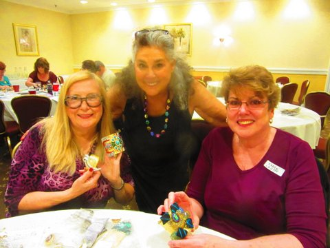 Wendy with two CJCI jewelry making workshop participants and the jewelry they made at the 2015 CJCI workshop in Providence, RI