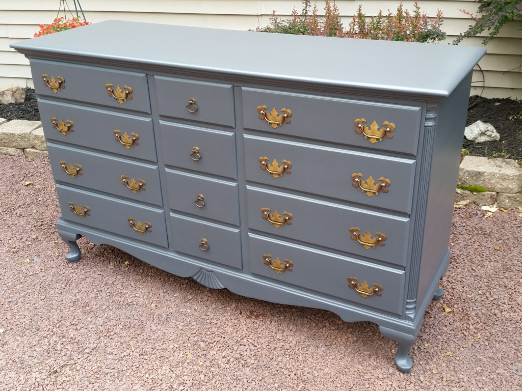 Dark Grey Dresser Painted Lacquer Furniture Refinishing The Restoration