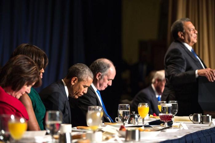 Obama during National Prayer Breakfast closing prayer
