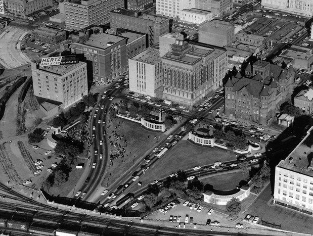 Aerial of Dealey Plaza
