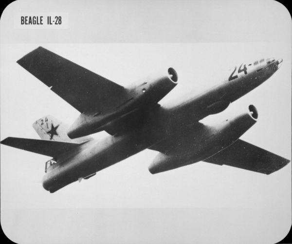 "Soviet medium bomber Ilyushin IL-28 (""Beagle"") in flight"