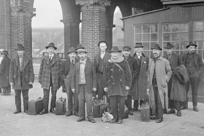 A group of Industrial Workers of the World members freed after 18 months detention at Ellis Island