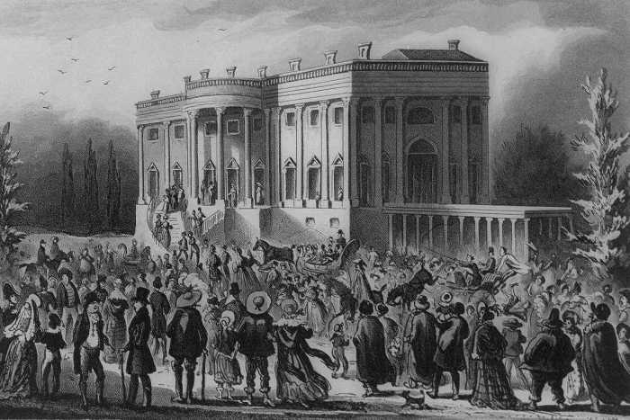 Crowd in front of the White House during Andrew Jackson's first inaugural reception in 1829