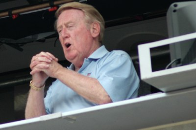 Vin Scully in Reporting Booth
