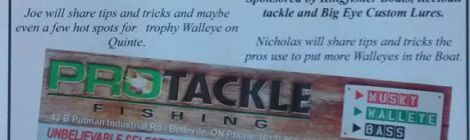 First Annual Pro Tackle's Quinte Fall Walleye Sale/Seminars Oct. 3rd. 9am - 9pm
