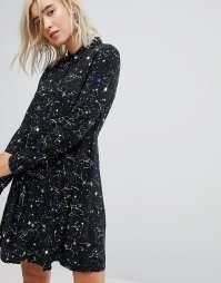 PIMKIE Galaxy Print Shirt Black Dress - We Select Dresses
