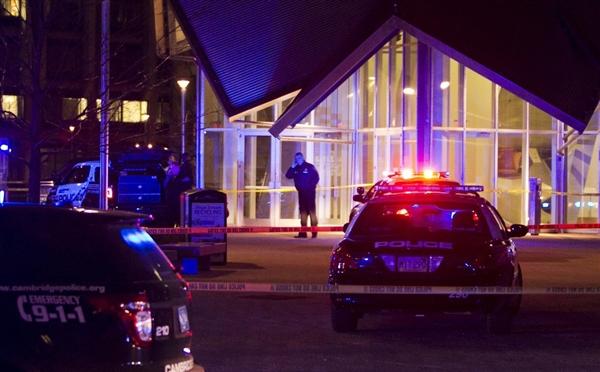 Police scene at MIT, via MSNBC.
