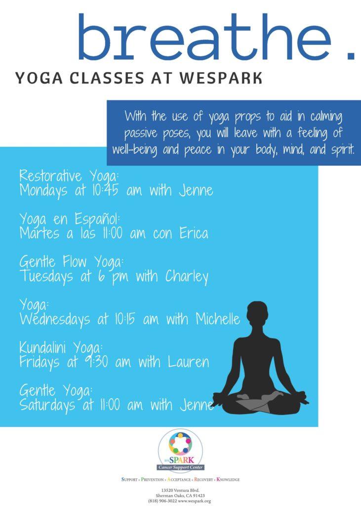 Yoga at weSPARK - 6 classes each week