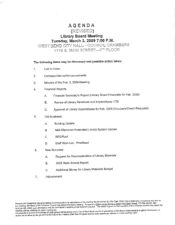 Revised Agenda for the West Bend Library Board Meeting\ - board meeting agenda