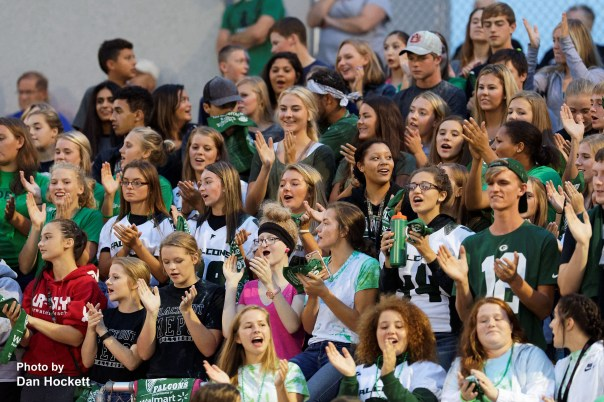 Photo by Dan Hockett West Burlington – Notre Dame Fans cheer for their Falcons against Mediapolis Friday night in West Burlington. WBND defeated Mepo in OT, 14-12.