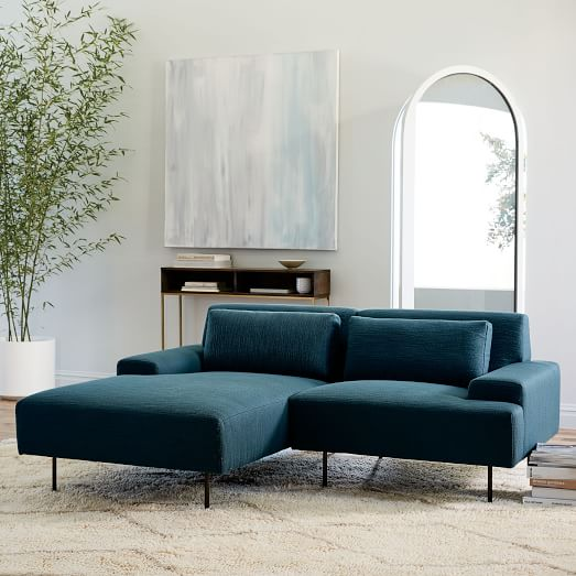 Pinterest L Shaped Sofa Beckham 2-piece Chaise Sectional - Blue Teal (twisted Slub