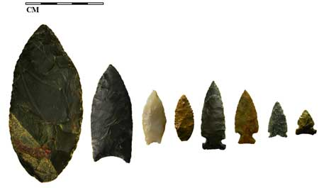 More than 13,000 years of use at Kelly Forks are revealed in the array of stone points found there, including a Goshen point from the Northern Plains (second from left) and the oldest from the Western Stemmed Tradition (third from left) (Photo courtesy Laura Longstaff)