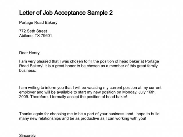 Job Acceptance Letter Business Mentor