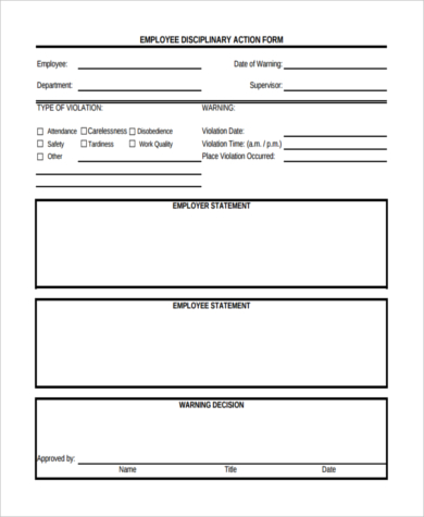 Employee Disciplinary Action Form With Checklist Business Mentor