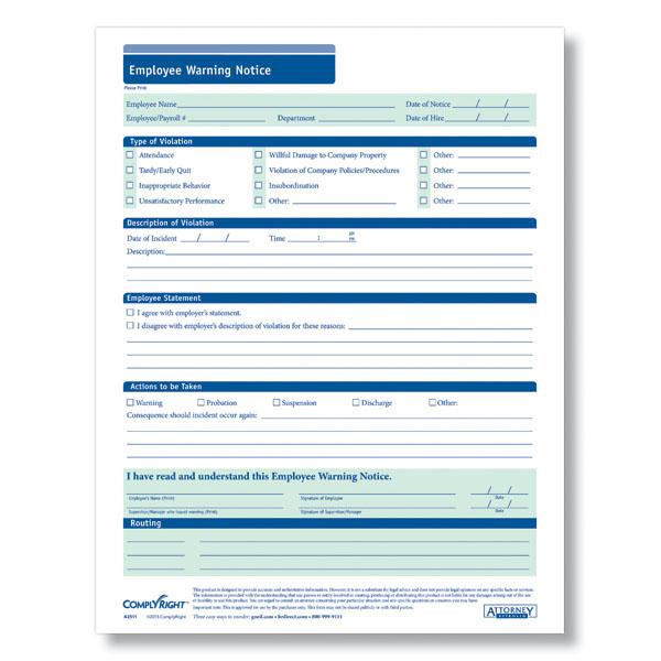 Free Printable Employee Warning Notice Business Mentor