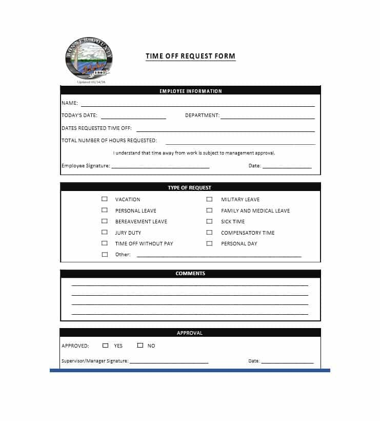 Free Printable Time Off Request Forms Business Mentor