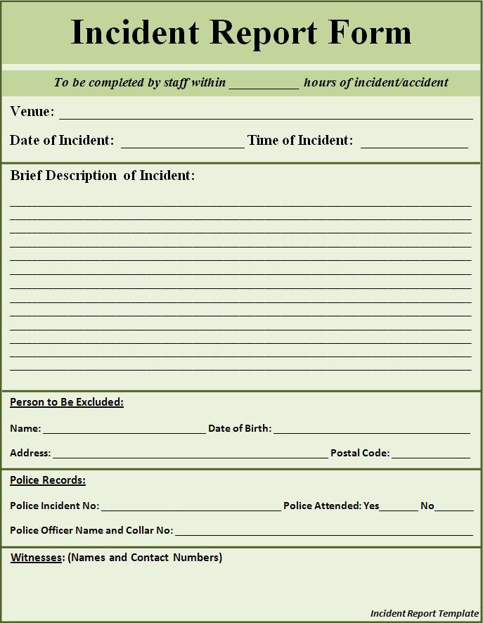 employee incident report template word - Seckinayodhya