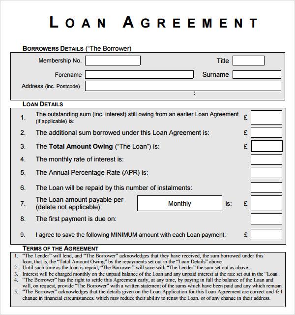 Sample loan document agreement