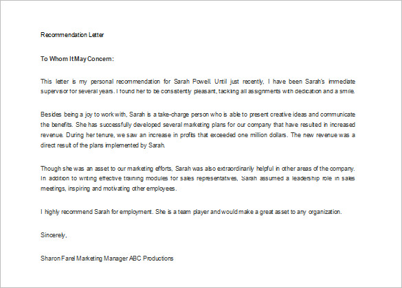 Printable Letter Of Recommendation Business Mentor