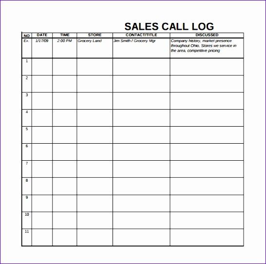 Call Log Template Business Mentor - contact log template