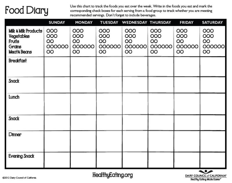 Food Diary Template Business Mentor