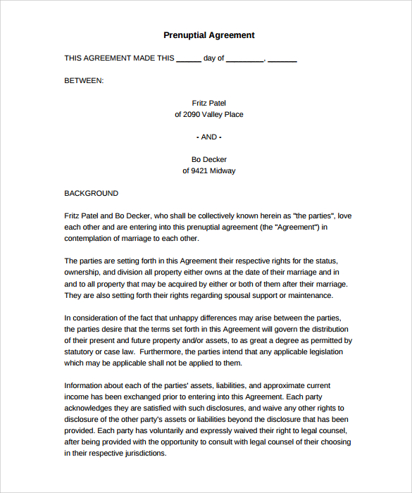 Free Printable Prenuptial Agreement Form Business Mentor