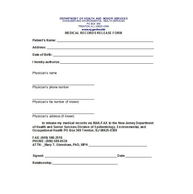 Medical Release Form Template Business Mentor - physician release form