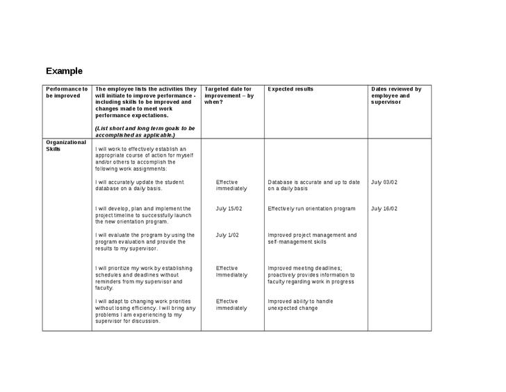 Performance Improvement Plan Template Business Mentor