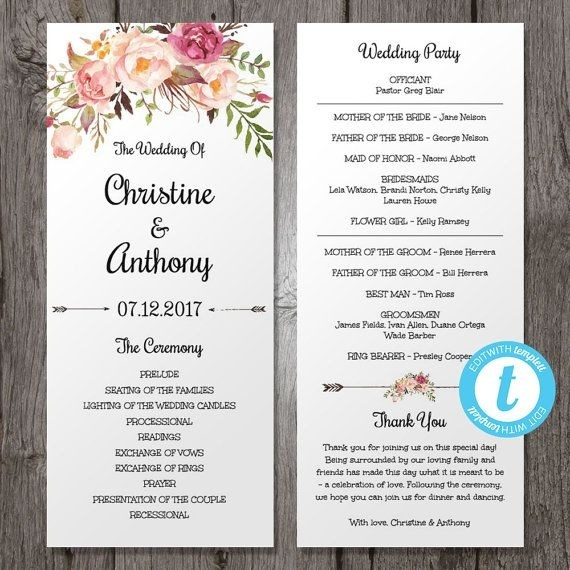 Wedding Program Templates Business Mentor - how to design wedding program template