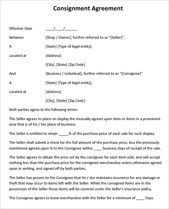 Consignment Agreement Template Free Business Mentor