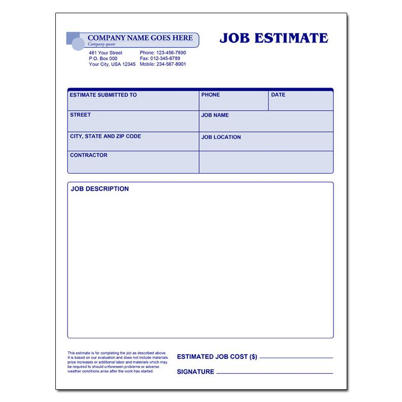 Free Contractor Estimate Forms Business Mentor
