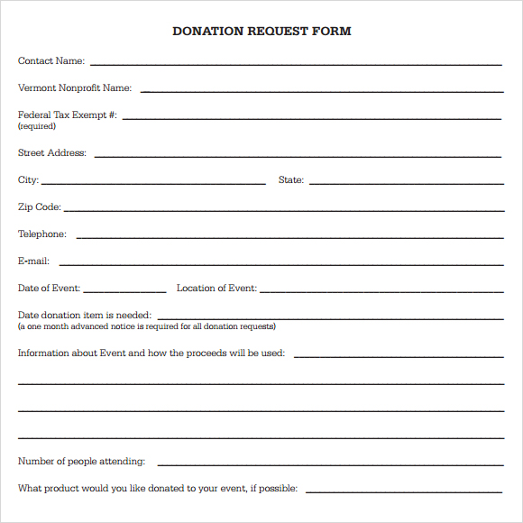 Free Donation Request Form Template Business Mentor