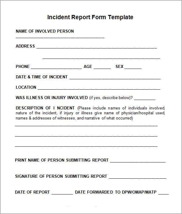Generic Incident Report Template Business Mentor