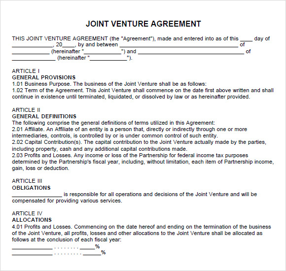 Joint Venture Agreement Sample Pdf Business Mentor