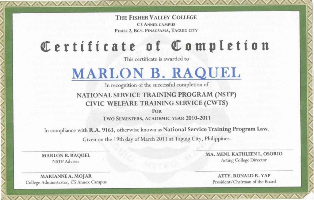 Certificate Of Completion Sample Colbro