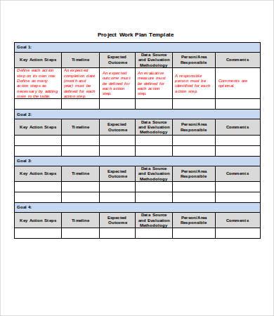 Work Plan Template Word Business Mentor