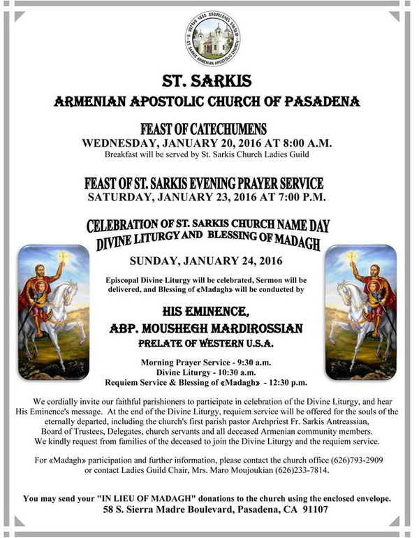 Western Prelacy Calendar Armencal Feast Of St Sarkis 171; Western Prelacy