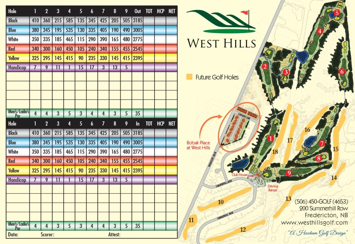 Final West Hills Score card inside