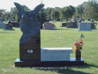 Girdaukas Angel Carving Bench Headstone in Granite