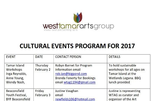 Current Projects West Tamar Arts Group Inc - event program