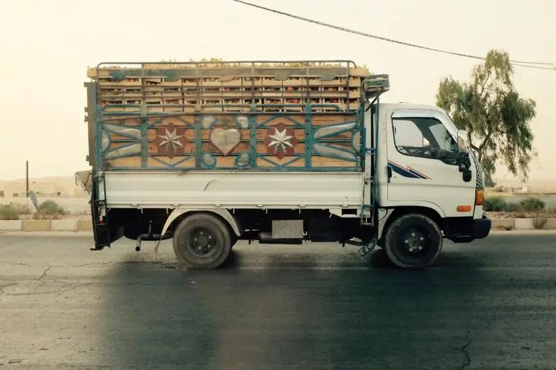 Apfeltransport in Jordanien