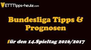 Bundesliga Wetten Tipps Quoten 14.Spieltag 2016 2017