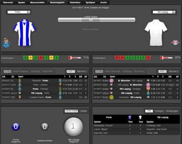 Porto Leipzig 01.11.2017 Tipp Statistik