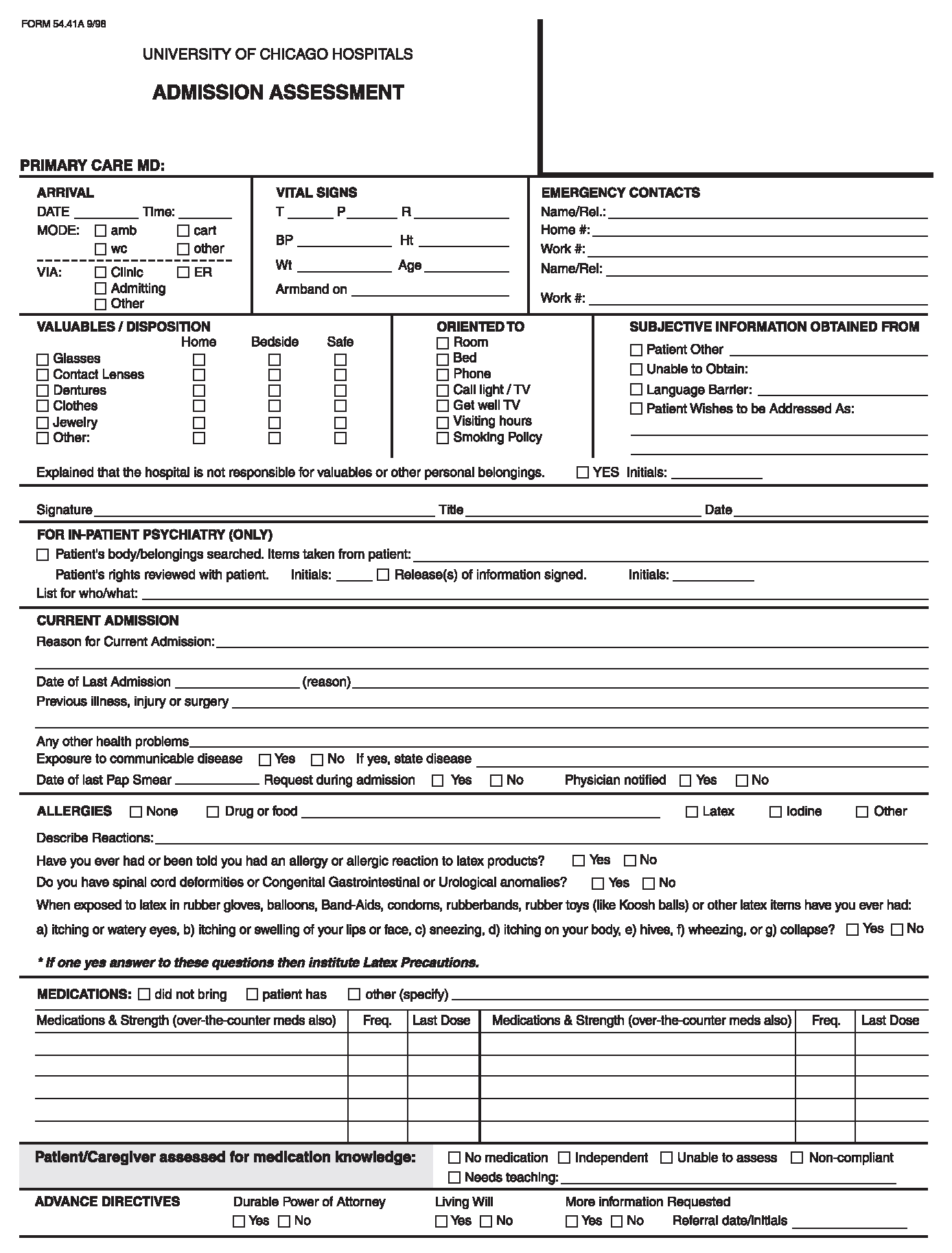 Emergency Room Discharge Form Template - art4search.com