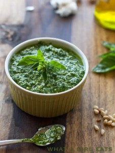 Fresh basil pesto, whatagirleats.com
