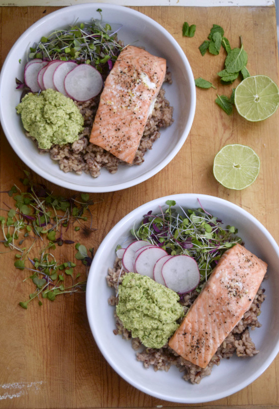 Earth Bowls with Salmon + Edamame Mash - What Annie's Eating