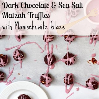Dark Chocolate and Sea Salt Matzah Truffles with Manischewitz Glaze