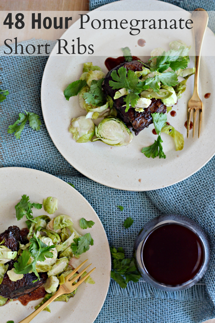 48 Hour Pomegranate Short Ribs with Pickled Brussels Sprout Slaw