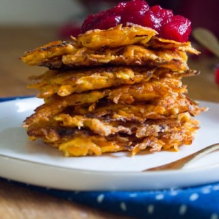 Sweet Potato Latkes with Cranberry Applesauce