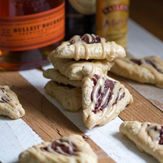 Chocolate Bourbon Hamantaschen with Bailey's Glaze